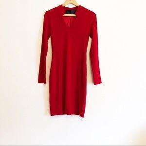 Yigal Azruel Red Wool Sheath Dress